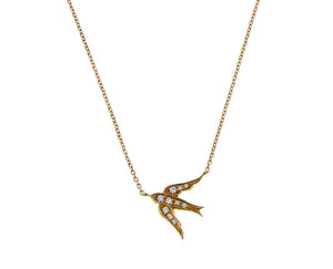 Rose gold necklace with a swallow