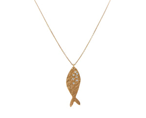 Rose gold necklace with fish pendant