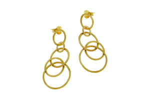 Yellow gold earrings with five open rings