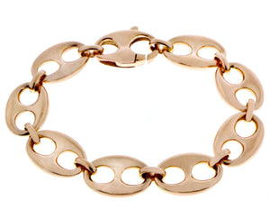 Rose gold coffee bean link bracelet