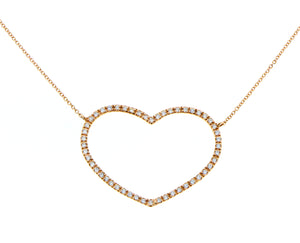 Rose gold necklace with a diamond heart pendant