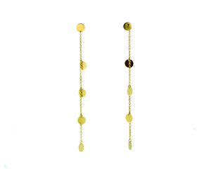 Yellow gold earrings with small coins