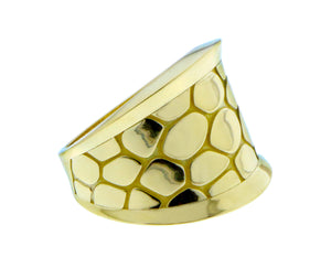 Yellow gold croco ring