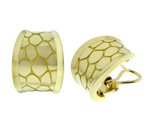 Yellow gold earrings in croco style