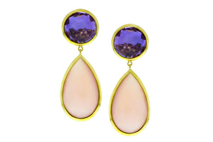 Yellow gold earrings with amethyst and rose quartz