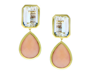 Yellow gold earrings with white topaz and calcedone