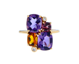Rose gold ring with amethysts, citrine, rhodolite and diamonds