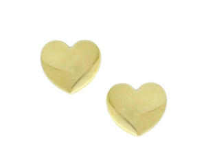 Yellow gold heart studs