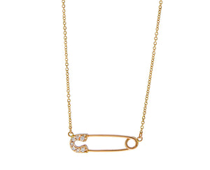 Rose gold necklace with a diamond safety pin pendant