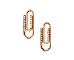 Rose gold and diamond paperclip earrings