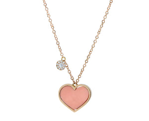 Rose gold necklace with a coral heart and a pendant set with diamonds