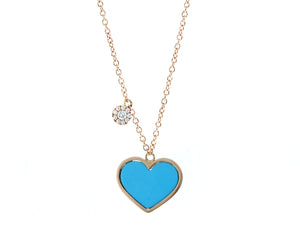 Rose gold necklace with a turquoise heart and a pendant set with diamonds