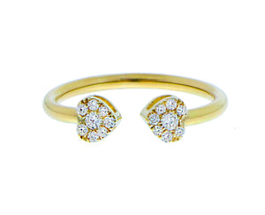 Yellow gold ring with two diamond hearts