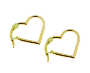 Yellow gold heart hoop earrings