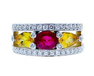 Yellow gold ring with diamond, ruby and yellow sapphire