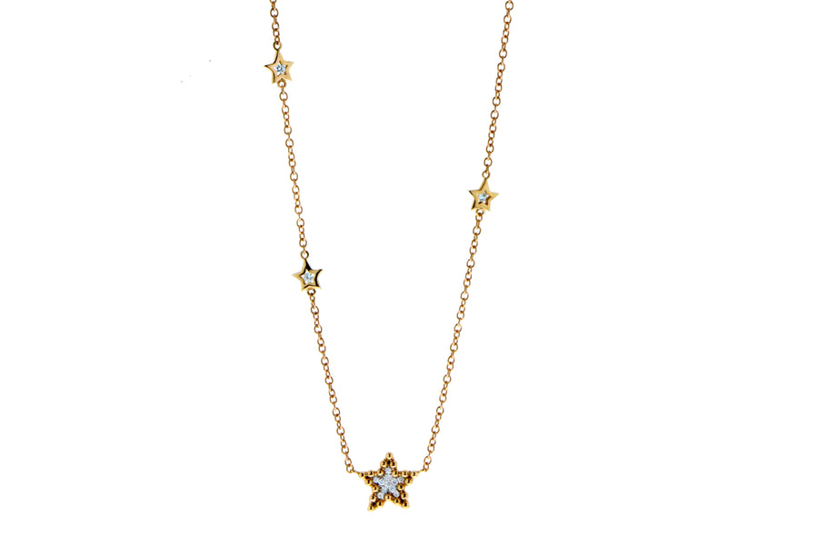 Rose gold necklace with a diamond star pendant