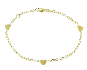 Yellow gold bracelet with hearts