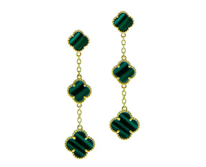Yellow gold and malachite alhambra earrings