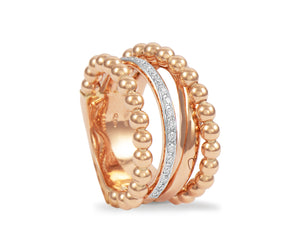 Rose gold ball ring with one diamond ring