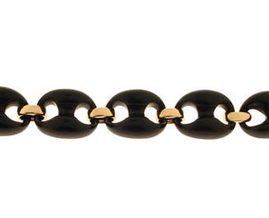 Ebony and yellow gold link bracelet