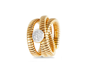 Yellow gold tubo ring with a diamond round
