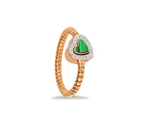 Rose gold ring with a malachite and diamond heart