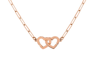 Pink gold necklace double coeurs