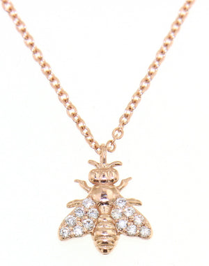 18K rose gold necklace with a bee pendant