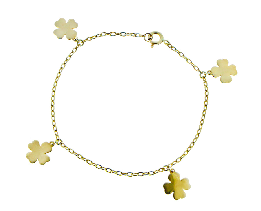 Yellow gold bracelet with heart pendants