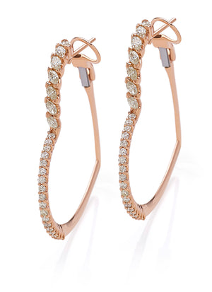Rose gold heart creoles with diamonds