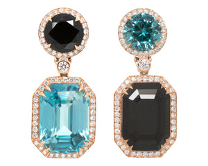 Blue zircon and black spinel ear rings
