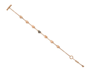 Brown diamond heart link bracelet