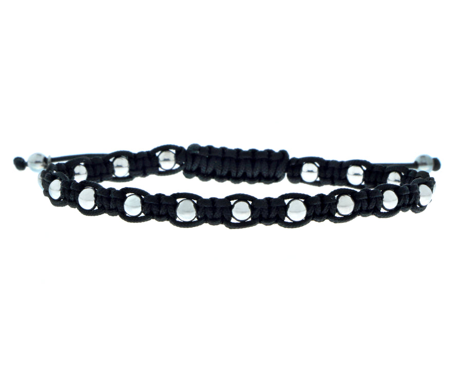 Black bracelet with 18K gold beads