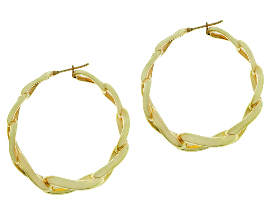Yellow gold chain earrings