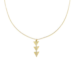 Yellow gold necklace with 3 triangles set with diamonds