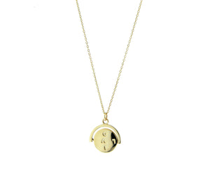 Yellow gold necklace with a rotating -i love you- coin pendant
