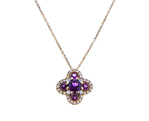 Rose gold necklace with alhambra pendant set with tourmaline and diamonds