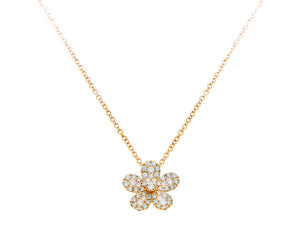 Rose gold necklace with a diamond flower pendant