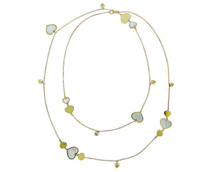 Yellow gold necklace with diamonds and mother of pearl heart charms