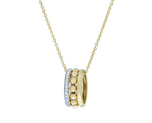 Yellow gold necklace with a diamond ring pendant