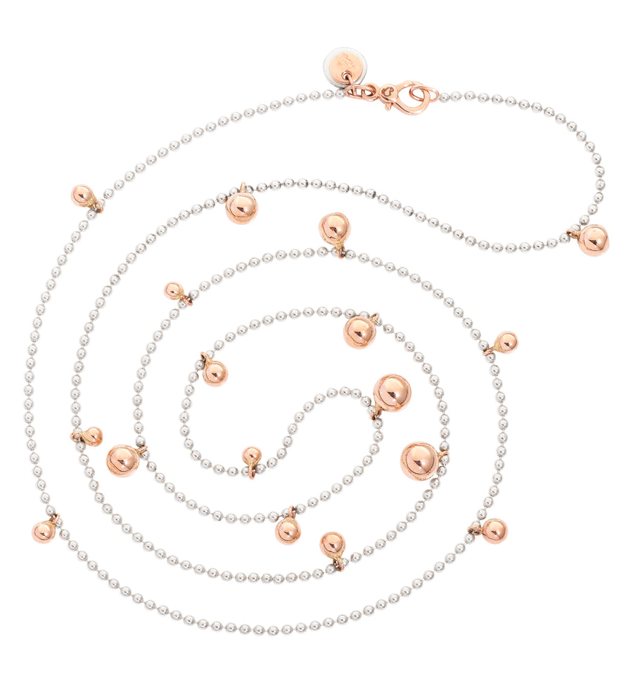 DoDo silver necklace with rose gold balls