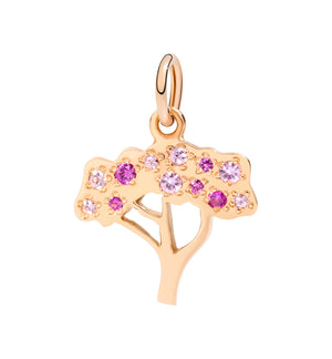 Cherry tree pendant with sapphires