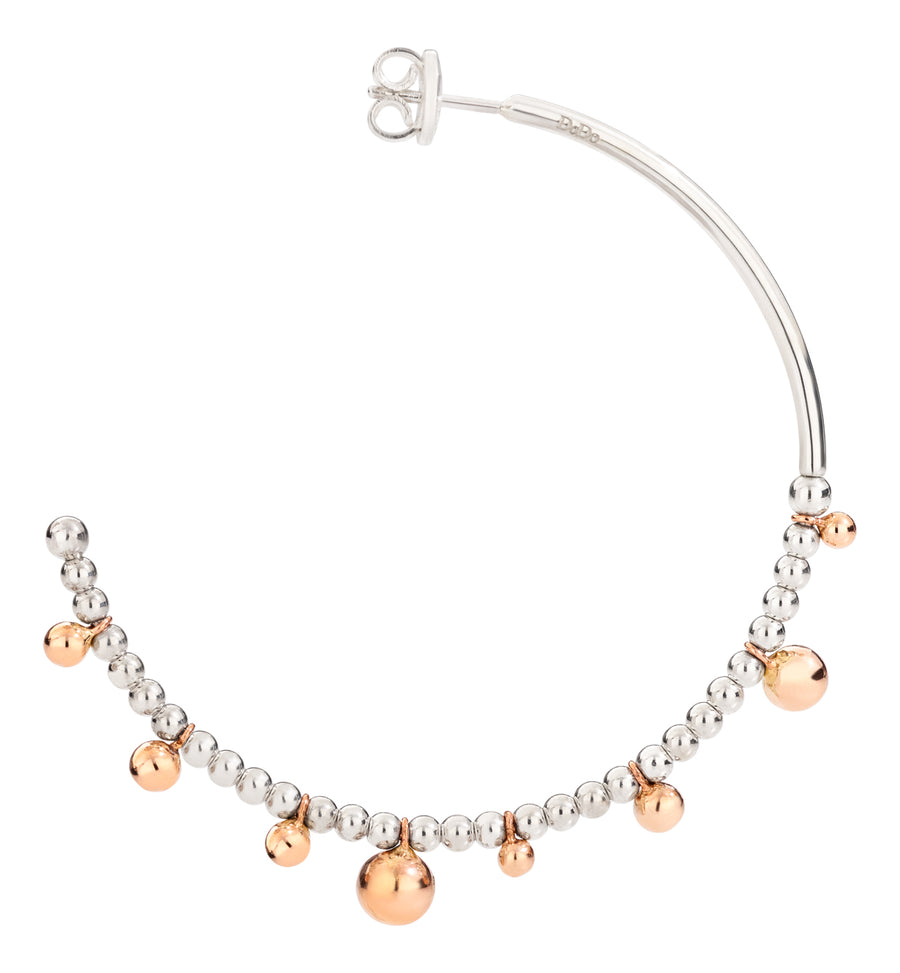 DoDo silver hoops with rose gold balls