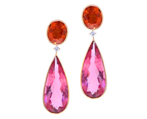 Rose gold earrings with orange spessartite garnets, diamonds and rubellites