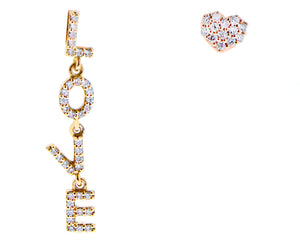 LOVE & heart stud earrings