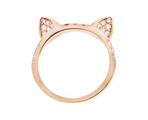 Pink gold ring with diamond ears