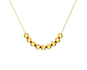 Yellow gold necklace with 9 gold moving balls