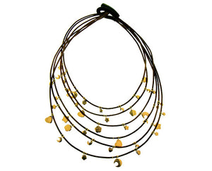 Leather necklace with yellow gold beads