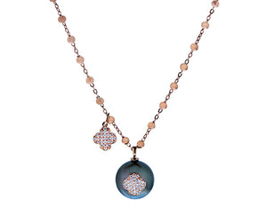 Rose gold necklace with a Tahiti pearl with a diamond clover and a loose dangling diamond clover