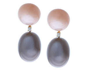 Yellow gold earrings with brown and grey moonstone